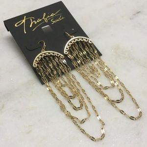 Chain chandelier table tower earrings